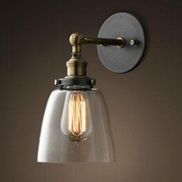Wholesale Adjustable Wall Lamps LIXADA E27 Vintage Glass Wall Sconces Rustic Country Wall Lamps Bedroom Stair Mirror Wall Light L0621