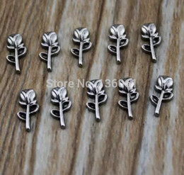 Vintage Silver Rose Flower Alloy Floating Locket Charms For Owl Floating Memory Lockets Necklace Jewelry Bijoux Accessories 100Pcs Q596