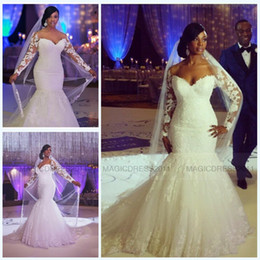 2019 Gorgeous Mermaid Wedding Dresses with Long Sleeve Beach Bridal Gowns Sweetheart Appliques Plus size Court Train Vintage Wedding Gown