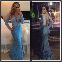 Lace Long Prom Dresses 2020 Islamic Evening Party Dress New Long Sleeve V Neck Mermaid Blue Party Evening Gowns With Pearls