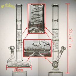 Wholesale 21 quot in big glass bong layers spring perc layers splash guard mm female joint have mm bowl