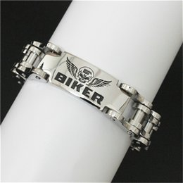 1pc Free Shipping Newest Design Bicycle Skull BIKER Bracelet 316L Stainless Steel Band Party Skull Biker Style Bracelet