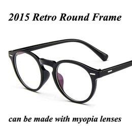 Men s round eyeglass frames en Línea-Al por mayor-2015 Marco I-brillante redondo retro Nueva Moda Gafas Marca Remache Diseño Gafas Miopía marco gafas de prescripción de los hombres