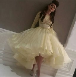 2015 Prom Dress Yellow Sparking Beading Bodice Long Sleeve Organza Ball Gown Tea Length Evening Gowns dhyz 01
