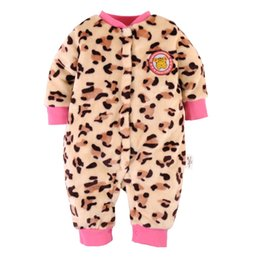 2016 Leopard Baby Girl Rompers Fleece Think Baby Outfit Bodysuit Jumpsuits Toddler Coat Top Quality Babies Clothes 0-12Month Newborn Clothes