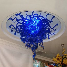 Wholesale Modern LED Light Source Indoor Art Decoration Blue Colored Hand Blown Glass Shade European Chihuly Style Mounted Chandelier Ceiling Light