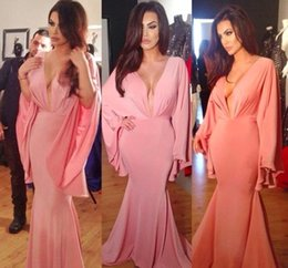 Vestidos Charming Pink Long Sleeves Mermaid Evening Dresses Deep V Neck Tank Sleeve Long Evening Party Dresses Vestido de Festa