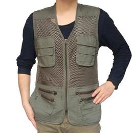 Fall-Men Male New Arrival Fashion Mesh Multi Pockets Outdoor Hunting Vest Waistcoats Army Green Khaki