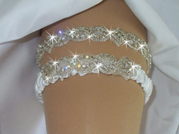 Luxury Crystal White Ivory Bridal Garters Ribbon Edge Bridal Accessories In Stock Cheap Hot Sale Free Shipping Custom Made 1 Pair Fashion
