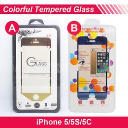 Iphone vidrio de alta calidad en Línea-Colorido vidrio templado premium Protector de pantalla 2.5D 0.2MM 9H a prueba de explosiones para Iphone 5 / 5S / 5C delantera y trasera de alta calidad libera el envío