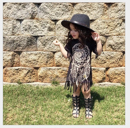 Wholesale Short Sleeve Tassel Dress - 2016 Summer Baby Girls Tassels Dress Kids Short Sleeve Dresses Children Clothing Fashion Girl Dress 80-120CM 5pcs lot