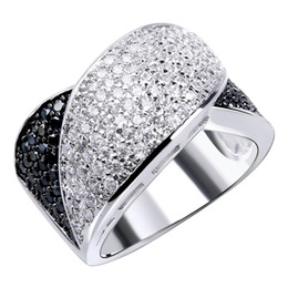 Black and white ring Sale Real Freeshipping Bands Trendy Party Plant Cz Carved Ring Full Stones with And Plate Big Rings for Women Wholesale