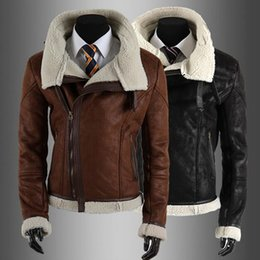 Wholesale Leather Jackets For Winter - Fall-New Arrival High Quality Mens Bomber Jacket with Fur Collar Zipper Closure Jackets for Men Leather Winter Mens Fur Coat