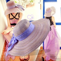 Wholesale-The summer sun hat cotton and linen bowknot eaves Straw hat cap folding beach leisure fashion hat