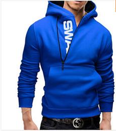 2016 Hot Mens Collar Hoodies Slim Fit Oblique Zipper Casual Hoodies Sweatshirts 5 colors 6 Sizes