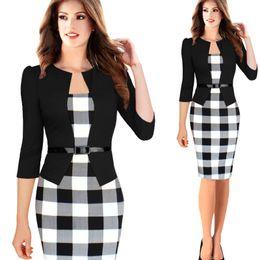 New Fashion 2015 Autumn Style Women Faux Two Piece Dress Elegant Plaid Long Sleeve Pencil Dresses Office Wear Women Work Outfits
