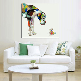 Wholesale 100 Handpainted Abstract Art Lovely Dogs Oil Painting On Canvas in Best Quality Wall Picture Home Decor As Unique Gift