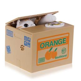 Wholesale 2016 Hot Sale Automated Cat Steal Coin Bank Piggy Bank Moneybox Money Saving Box Gifts digital coin jar alcancia de gato