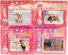 Wholesale 2014 New frozen kids fashion watch and wallet children quartz cartoon watch sets boys girls purse watch