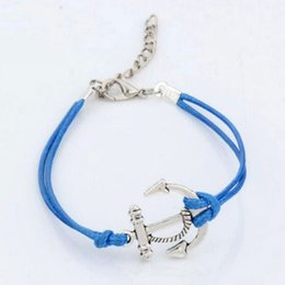 Wholesale Hot Sell antique silver Alloy Anchors Charms Light Blue color Wax rope Adjustable Bracelets