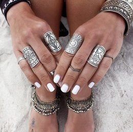 Bohemian Vintage Punk Ethnic Silver Rings for Women Joint Knuckle Ring Set 4pcs fashion jewelry wholesale