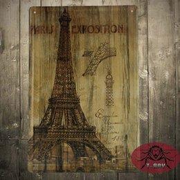 Wholesale The Pair Eiffel tower Vintage Medal Decor Wall Art Gas Oil Garage Shop Bar cm