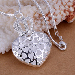 Wholesale High Quality Women Fashion Jewelry Soild Silver Big Pendant Necklaces For Women Charms The Crown Heart Necklaces Pendants Piece
