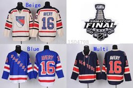 Wholesale Factory Outlet Stanley Cup Finals Patch Men s New York Rangers Hockey Jerseys Sean Avery Jerseys Blue Beige Jerseys Embroidery Log