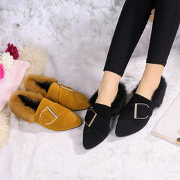 women shoes 2018 new sexy 35-39 Pointy rough with the students flat plush Scrub shoes female fashion Yellow black shoe