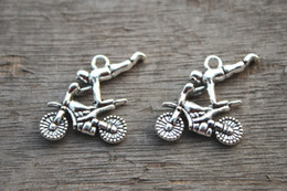 Wholesale 12pcs Motorcycle Charms Antique Tibetan Silver Tone Dirtbike charm pendants X24mm