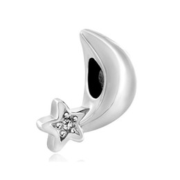 Clear crystal star moon charm big hole metal slider bead European spacer charm fit Pandora Chamilia Biagi bracelet