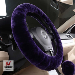 Wholesale Big Sale Universal Fit Genuine Patchwork Sheepskin Car Steering Wheel Cover Fur Car Wheels Cover Steer Decoration