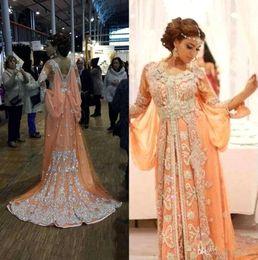 Wholesale 2016 Unique Abaya Prom Dresses Arabic Kaftan Runway Evening Dresses Bat Long Sleeves Lace Appliqued Chiffon Dubai Long Party Gowns BO7444