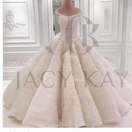 New Luxurious Ball Gown Wedding Dresses 2016 Chaple Train Off Shoulder Bridal Dresses Long Train Wedding Gowns