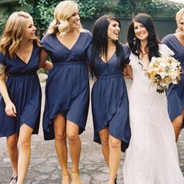 Wholesale Cheap Knee Length Sheath Dresses - Short Sleeves Knee Length Bridesmaid Dress With Deep V Neck High Low Navy Blue 2016 Maid Of The Honor Wedding Party Gown Cheap
