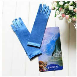 Wholesale New Frozen Princess Elsa Long Blue Gloves Full Finger Children Girl Glove Cartoon Party Costume