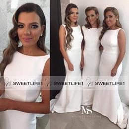 White Mermaid Bridesmaid Dresses 2019 Long Maid Of Honor Dress Stain Evening Gowns Floor Length Custom Made Cheap Sleeveless Summer Dresses