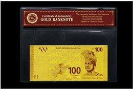 Wholesale Malaysia100 banknote Kt gold leaf foil plated home decoration and collection High in quality
