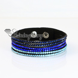 genuine leather crystal rhinestone wrap slake bracelets wristbands adjustable fashion leather bracelet jewelry personalized