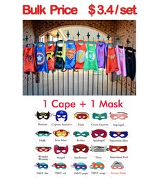 Wholesale Child Layers - 15color double layer kids cosplay Superhero Capes mask, Children cape masks,Halloween costume,Multiple choices cape and mask