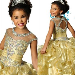 Girls Pageant Dresses with Sheer Crew Neckline Organza Beaded Crystals open  Backless keyhole back Ruched ruffles Formal Kids Wear skirt
