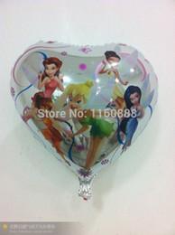 Globos del corazón en venta-venta al por mayor los globos elfin tinkerbell corazón 18inch de globos de papel de aluminio de hadas fiesta de cumpleaños mylar globos de helio