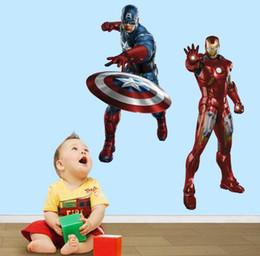 Wholesale Superhero Captain America Iron man D Movie Wall Stickers The Avengers Removable Vinyl Wall Sticker Decals Kids children Room Decor Sticker