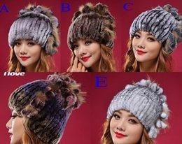 Wholesale Fashion Korean Warm Rabbit Fur Beanie Skull Caps Fall Winter Graceful Women Elastic Knitted Wool Hat Tlove Adjustable Cap Online Sale