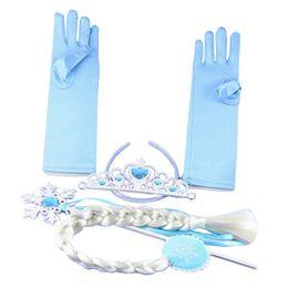 Frozen Elsa Princess Magic Wand Sticks Crown Glove Full Finger Gloves Hairpiece Wig 4 Pieces Set Girls Gift