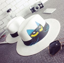 Wholesale Straw Owls - Wholesale-Female white straw hat 2015 summer owl printing vintage sun hat for women