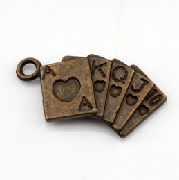 Playing cards Charm Pendants 100Pcs   lots 13x24mm Antique bronze Alloy jewelry DIY Fit Bracelets Necklace Earrings A-332