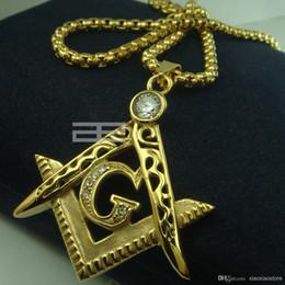 Wholesale Mens k gold fiiled Freemasonry Masonic Mason Pendant Free chain necklace N214