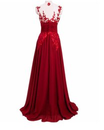Wholesale Amy Evening Dresses Sheer Neckline Short Sleeves Backless Sequins Applique Chiffon Plus Size Party Prom Gown