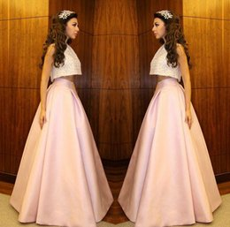 Myriam Fares Two Pieces Prom Dresses 2015 A Line Floor Length Pink Evening Gowns Lace Applique Special Occasion Quinceanera Dresses
